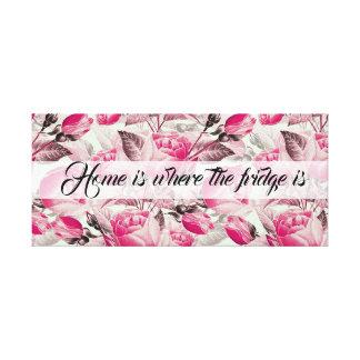 """Impressão Em Tela O teste padrão floral cor-de-rosa engraçado """"Home"""