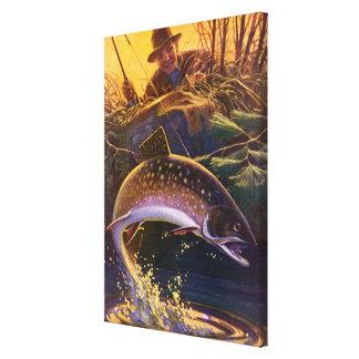 Impressão Em Tela O vintage ostenta a pesca dos peixes da truta,