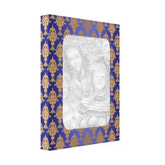 Impressão Em Tela Ouro do damasco em beiras dos azuis marinhos
