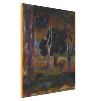 Impressão Em Tela Paisagem com um porco e um cavalo por Paul Gauguin