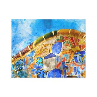 Impressão Em Tela Parque Guell na espanha de Barcelona