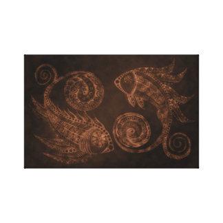 Impressão Em Tela Peixes de cobre de Paisley