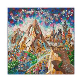 Impressão Em Tela Pintura com montanhas