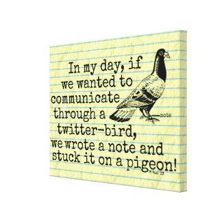 Impressão Em Tela Pombo engraçado do pássaro do Twitter da idade