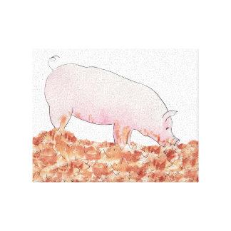 Impressão Em Tela Porco bonito na arte engraçada do animal do