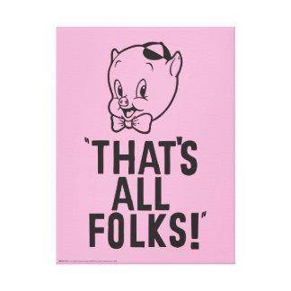 """Impressão Em Tela Porco Porky clássico """"que é todos os povos! """""""