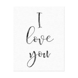 Impressão Em Tela Preto e branco eu te amo