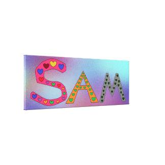 Impressão Em Tela SAM do nome da menina design roxo e do azul do