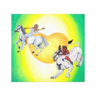 Impressão Em Tela Unicórnio da equitação da deusa da leoa da
