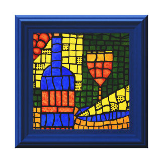 Impressão Em Tela Vino quadro do vinho do falso mosaico colorido