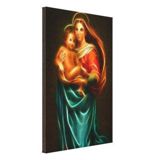 Impressão Em Tela Virgem Maria e bebê Jesus