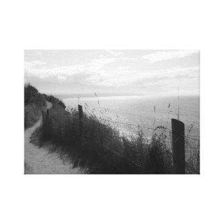 Impressão Em Tela Vista para o mar cénico em preto e branco