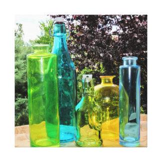 Impressão esticado colorido das canvas das garrafa