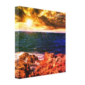 Impressão europeu rochoso das canvas do litoral