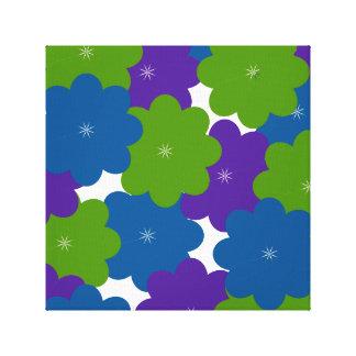 Impressão floral do roxo, o verde & o azul das impressão em tela