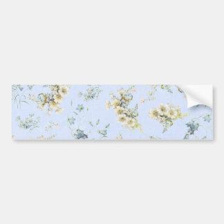 Impressão floral do vintage azul e branco adesivo para carro
