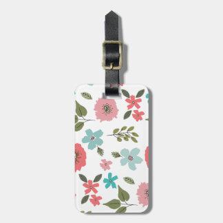 Impressão floral ilustrado mão etiqueta de bagagem