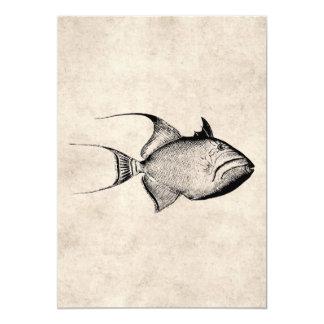 Impressão havaiano da antiguidade dos peixes do convite 12.7 x 17.78cm