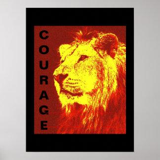 Impressão inspirador do poster do leão da coragem