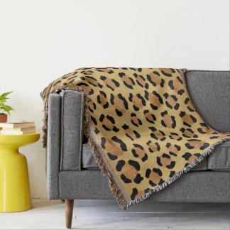 Impressão morno do leopardo de Brown e de ouro Throw Blanket