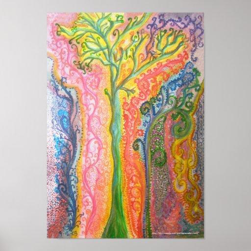 Impressão ou poster com design psicadélico da árvo