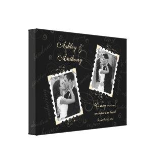 Impressão preto das canvas da foto do casamento do