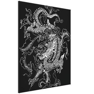 Impressão preto e branco das canvas do dragão impressão em tela canvas