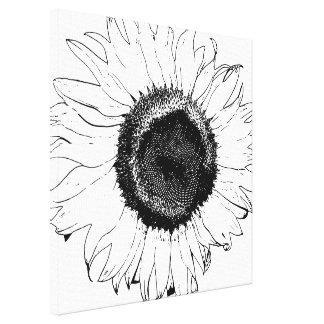 Impressão preto e branco das canvas do girassol impressão em tela