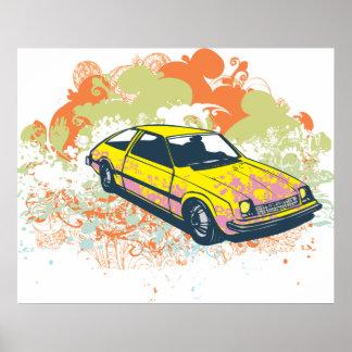 Impressão retro do poster do design gráfico do car