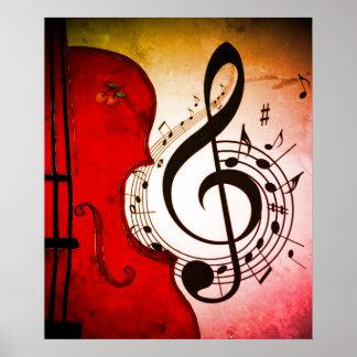 impressão rockabilly da arte do violoncelo/violino