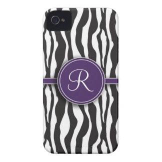 Impressão roxo feminino da zebra do monograma capinhas iPhone 4