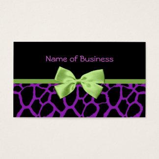 Impressão roxo feminino do girafa com a fita verde cartão de visitas