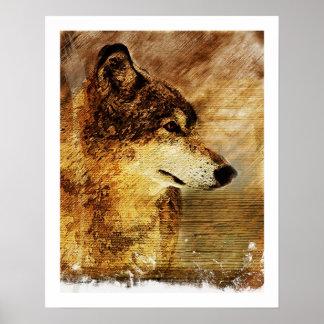 Impressão rústico de Aat da multa do lobo