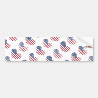 Impressão rústico do coração da bandeira americana adesivo para carro