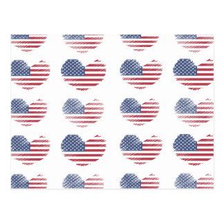 Impressão rústico do coração da bandeira americana cartão postal