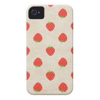 Impressão rústico feminino das morangos do vintage capa para iPhone