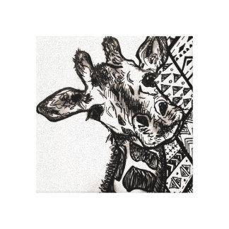 Impressão tribal do girafa impressão em tela