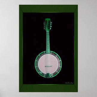 Impressão verde do banjo