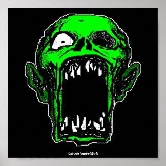 Impressão verde do poster do zombi