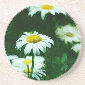Impressionismo abstrato das margaridas brancas do porta copos de arenito