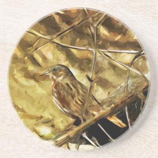 Impressionismo do abstrato das aves canoras do porta copos de arenito
