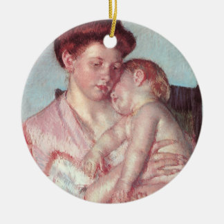 Impressionismo do vintage, bebê sonolento por Mary Ornamento De Cerâmica Redondo