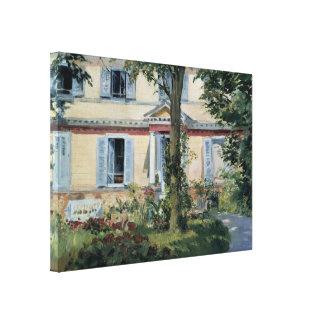 Impressionismo do vintage, casa em Rueil por Manet Impressão Em Tela