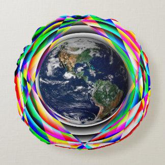 Impressões da terra almofada redonda