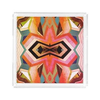 Impressões geométricas do vintage colorido bandeja de acrílico
