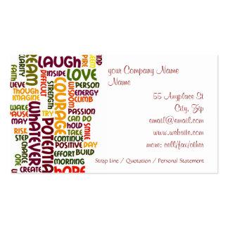 Incentivo inspirador do positivo das palavras #1 cartão de visita