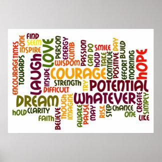 Incentivo inspirador do positivo das palavras #1 pôster