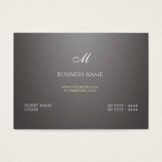 Inclinação e monograma cinzentos cartão de visita grande