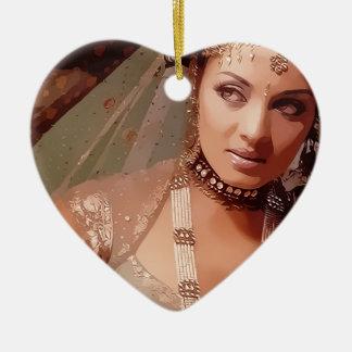 Indian bride ornamento de cerâmica coração