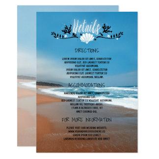 Informação de detalhes do casamento de praia - convite 11.30 x 15.87cm